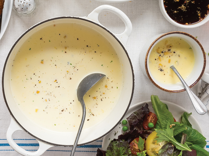 Grilled corn and coconut soup