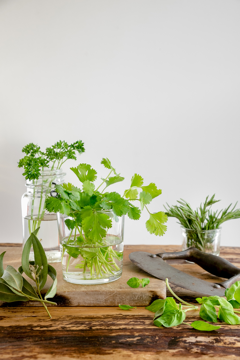 Fresh herbs on table