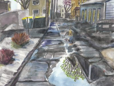 watercolor painting of alley