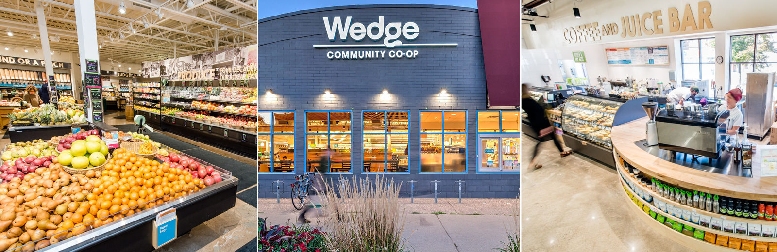 The Wedge Community Co-op store front and building interior