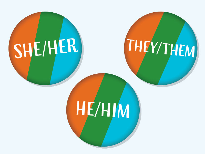 "3 orange, green and blue stripped buttons with gender pronouns on them. ""She/Her"" ""He/Him"" ""They/Them"""